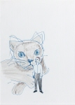 Untitled (Small Man in Front of Large Cat)