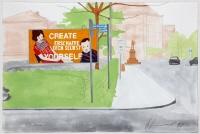 Major Billboard Campain Documenta Kassel 1987. Create Yourself. Karls Platz Kassel