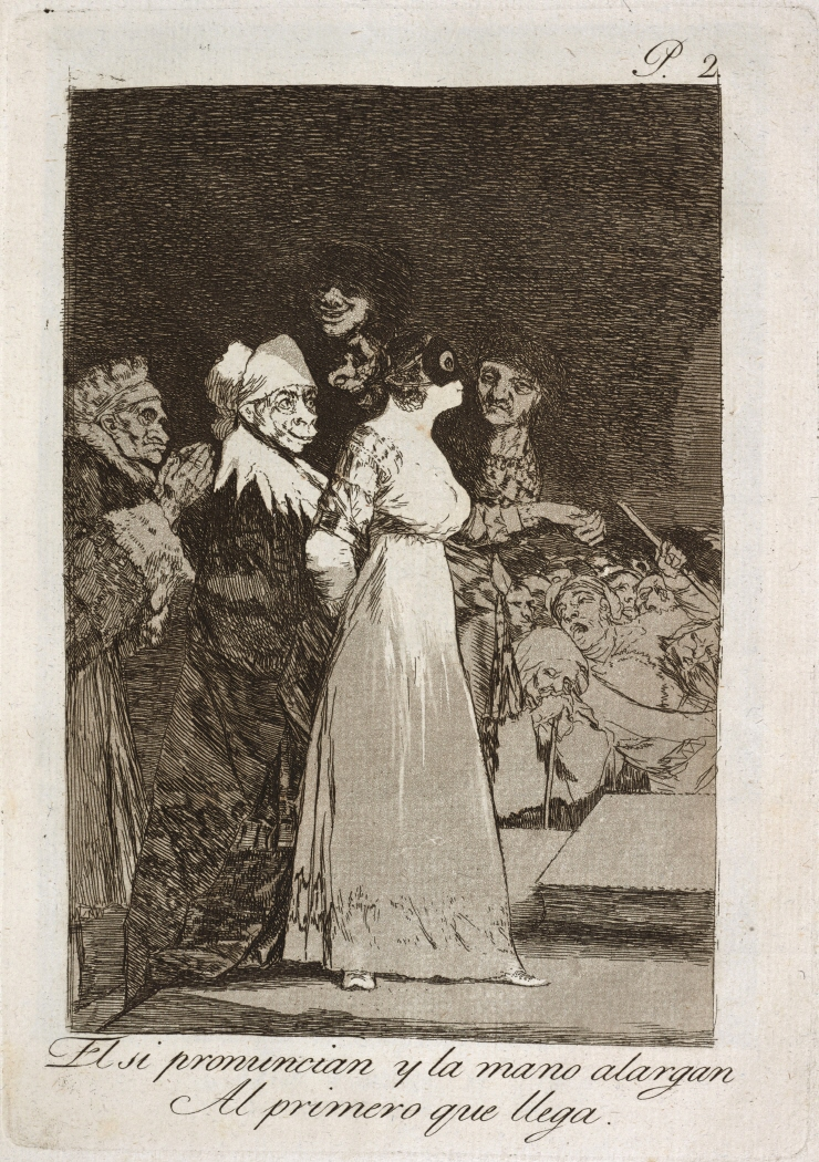Caprichos. El si pronuncian y la mano alargan al primero que llega, 1799
