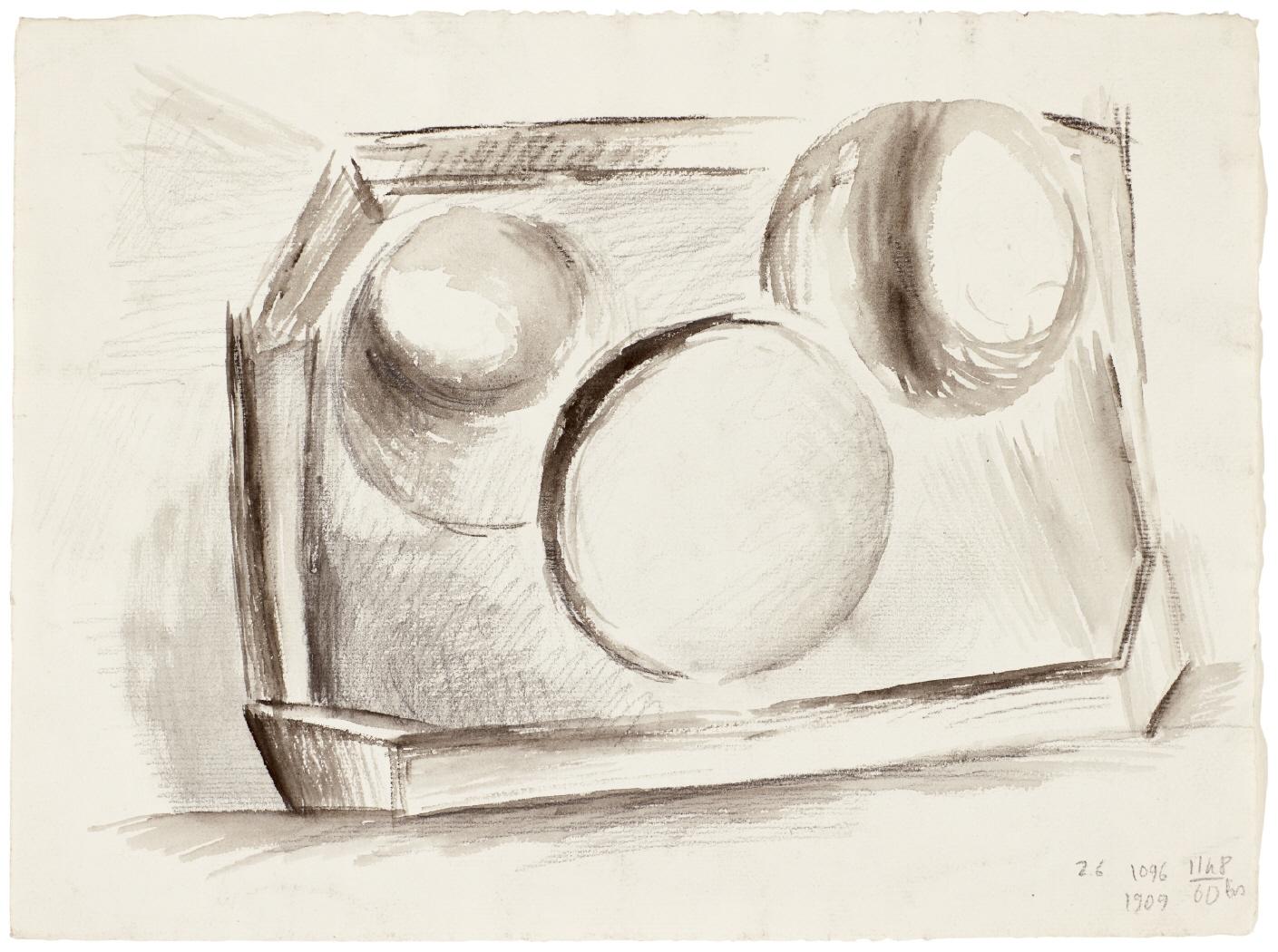 Trois pommes sur un plateau (recto) et Composition abstraite (verso), 1909